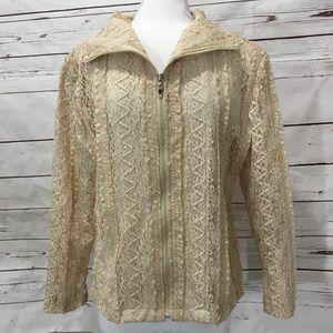 Carina Ivory Lace Medium Jacket Zip Front Shimmer